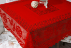 Lace Table Cloth Red